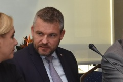 zľava: Denisa Saková - ministerka vnútra SR, Peter Pellegrini, predseda vlády SR, Viktor Kiss - predseda OZP v SR