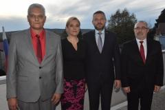 zľava: Viktor Kiss - predseda OZP v SR, Denisa Saková - ministerka vnútra SR, Peter Pellegrini - predseda vlády SR, Marián Magdoško - prezident KOZ SR
